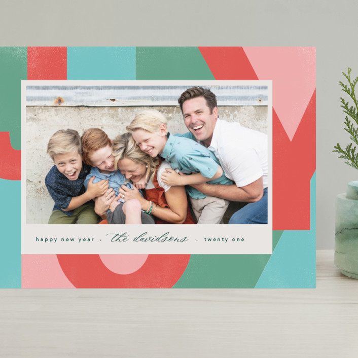 """""""A Block of Joy"""" - Modern Grand Holiday Cards in Candy Apple by Erin Niehenke."""