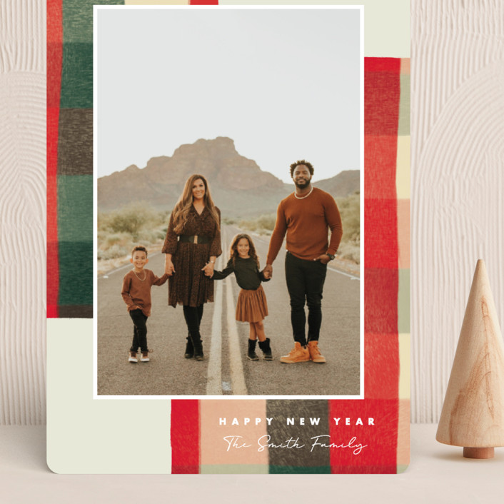 """""""Warm Flannel"""" - Vintage Grand Holiday Cards in Cranberry by Keen Peachy."""