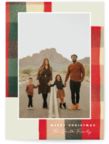 This is a red holiday photo card by Keen Peachy called Warm Flannel with standard printing on smooth signature in grand.