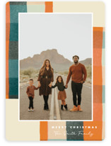 This is a orange holiday photo card by Keen Peachy called Warm Flannel with standard printing on smooth signature in grand.