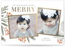 This is a gold foil stamped holiday card by Oscar & Emma called Holidays Upon Us with foil-pressed printing on signature in grand.