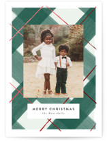 This is a green foil stamped holiday card by Itsy Belle Studio called Gilden Plaid with foil-pressed printing on smooth signature in grand.