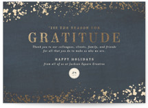 This is a blue foil stamped holiday card by Meggy Masters called Season of Gratitude with foil-pressed printing on recycled in grand.