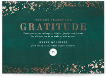 This is a green foil stamped holiday card by Meggy Masters called Season of Gratitude with foil-pressed printing on signature in grand.