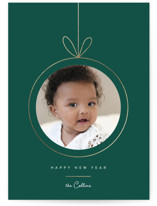 This is a green foil stamped holiday card by Yuliya Evseeva called Christmas toy with foil-pressed printing on signature in grand.