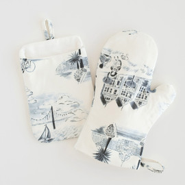 This is a blue apron by Surface Love called San Francisco Modern Toile.