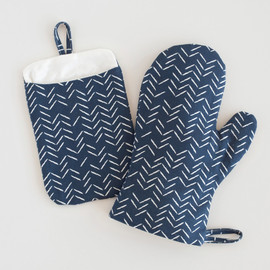 This is a blue apron by Lehan Veenker called Herringbone Incomplete.