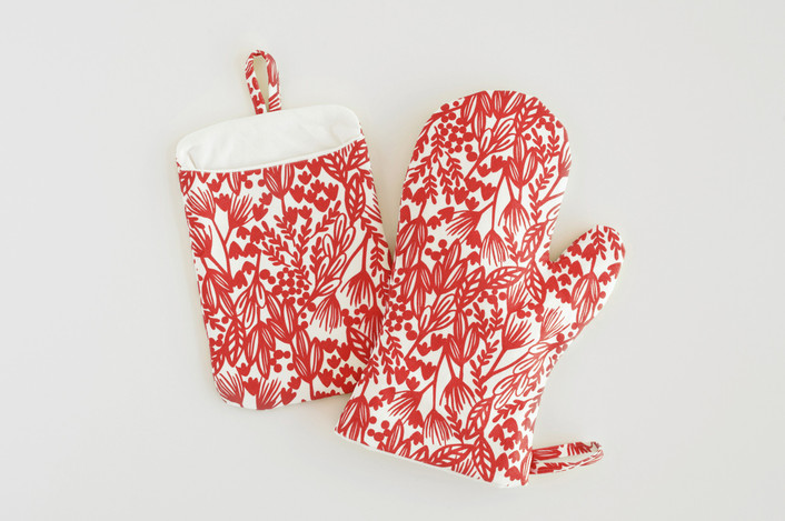 Bold Botanical mittens designed by Laura Hankins