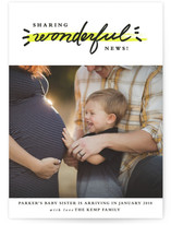 This is a yellow pregnancy announcement by Stacey Meacham called Full of Wonder with standard printing on smooth signature in standard.