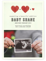 This is a red pregnancy announcement by Hudson called A Beautiful Addition with standard printing on smooth signature in standard.