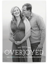 This is a blue pregnancy announcement by Carolyn MacLaren called Overjoyed with standard printing on smooth signature in standard.