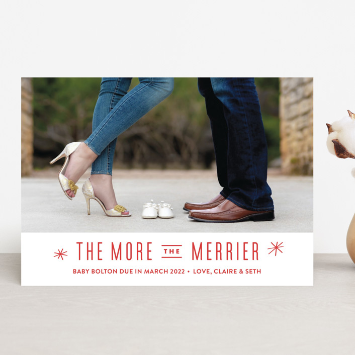 """""""The More, the Merrier"""" - Funny Pregnancy Announcements in Snowflake by Carolyn MacLaren."""