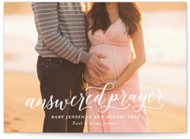This is a white pregnancy announcement by Sarah Brown called Answered Prayers with standard printing on smooth signature in standard.
