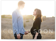 This is a white pregnancy announcement by Roxy Cervantes called Coming Soon with standard printing on smooth signature in standard.