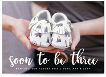 This is a white pregnancy announcement by Ashley Rosenbaum called Soon to be Three with standard printing on smooth signature in standard.
