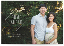 This is a white pregnancy announcement by Pink House Press called Bump Ahead with standard printing on smooth signature in standard.