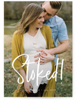 This is a white pregnancy announcement by Guess What Design Studio called stoked with standard printing on smooth signature in standard.