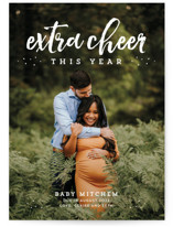 This is a white pregnancy announcement by Lea Delaveris called Extra cheer this year with standard printing on smooth signature in standard.