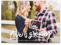 This is a colorful pregnancy announcement by Paper Raven Co. called Love is Growing with standard printing on pearlescent in standard.