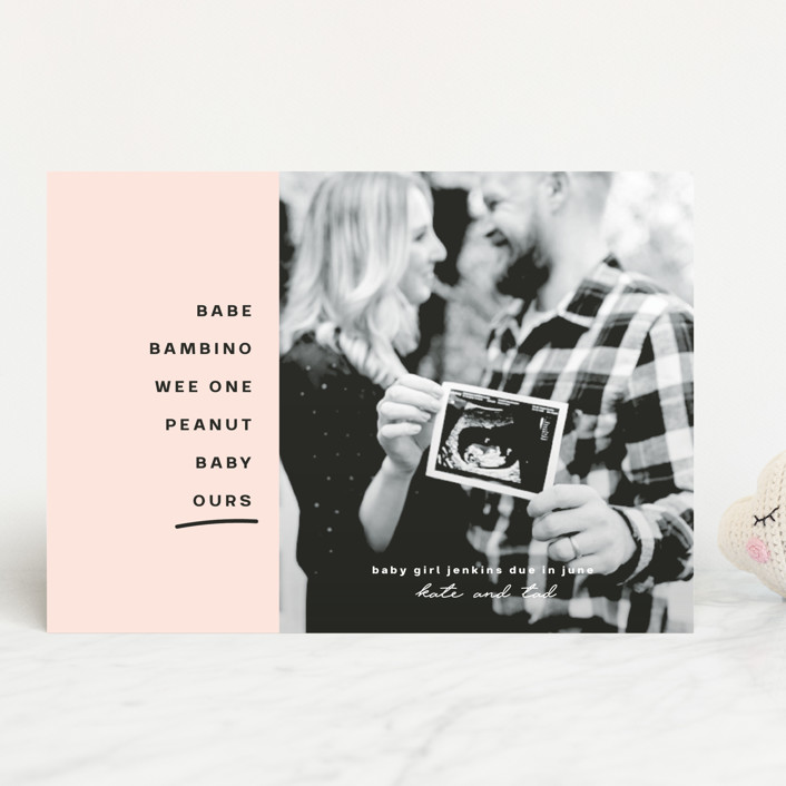 """""""Ours on the Way"""" - Modern, Funny Pregnancy Announcements in Blush by Susan Brown."""