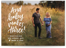 This is a white pregnancy announcement by Ink and Letter called Baby Makes Three with standard printing on recycled in standard.