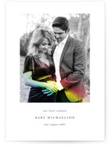 This is a white pregnancy announcement by Maria Hilas Louie called Rainbow Light with standard printing on recycled in standard.