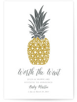 This is a yellow pregnancy announcement by Beth Schneider called Guilded Pineapples with standard printing on triplethick in standard.