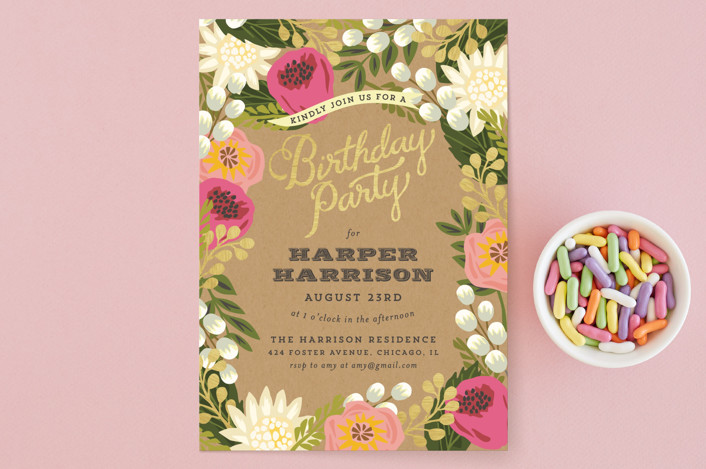 """""""Floral Canopy"""" - Party Invitations in Peony by Griffinbell Paper Co.."""