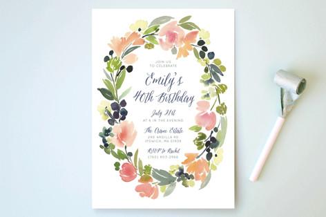 Watercolor Wreath Party Invitations