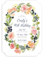 This is a pink party invitation by Yao Cheng Design called Watercolor Wreath printing on signature.