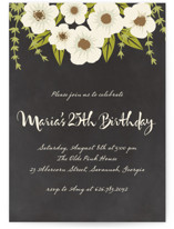 This is a black party invitation by Faiths Designs called Plentiful Blossoms printing on signature.