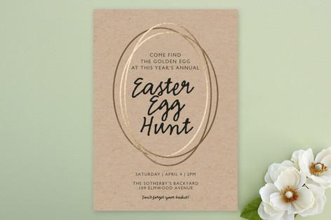 Golden Easter Egg Hunt Party Invitations
