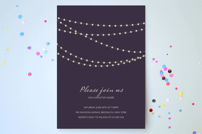 """""""Midnight Vineyard"""" - Party Invitations in Deep Eggplant by Design Lotus."""