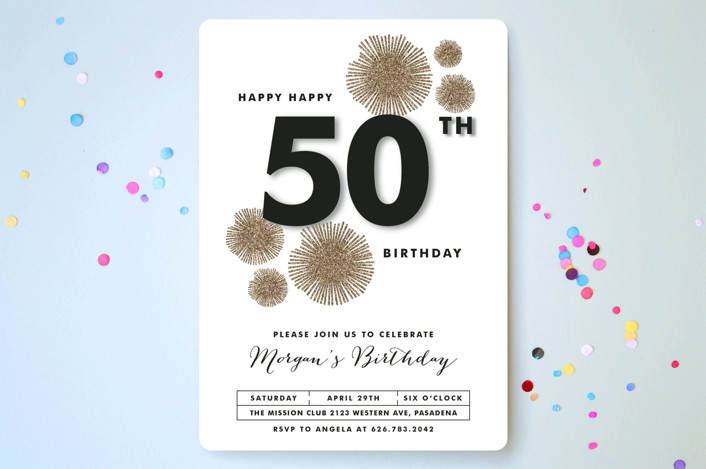 """""""Sparkle Everywhere"""" - Modern Party Invitations in Gold by Aspacia Kusulas."""