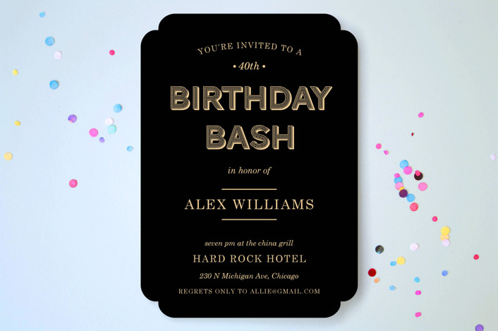 """""""Wood Grain"""" - Simple, Bold typographic Party Invitations in Midnight by leslie hamer."""