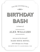 This is a black party invitation by leslie hamer called Wood Grain printing on signature.