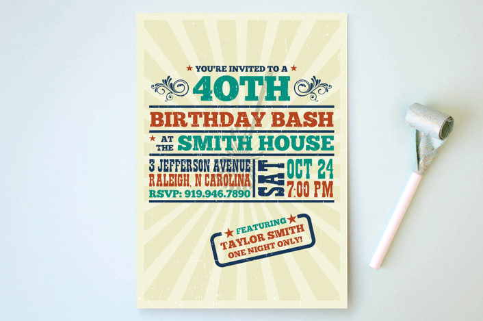 """""""Old Blues Rock"""" - Party Invitations in Lime by Nam Bourassa."""
