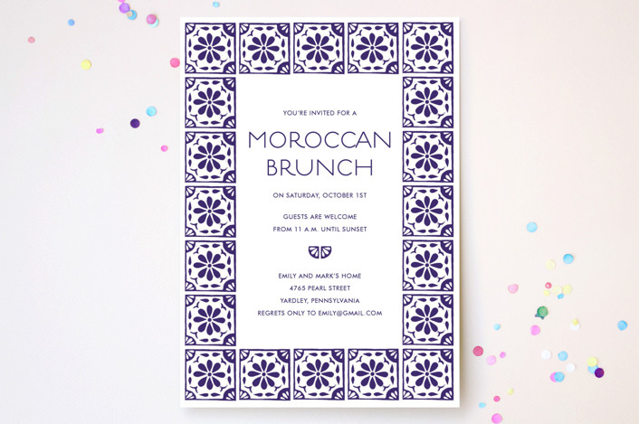 """""""Block Printed Tile"""" - Floral & Botanical, Rustic Party Invitations in Eggplant by Katharine Watson."""
