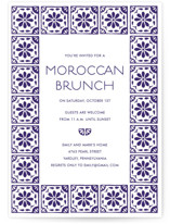 This is a purple party invitation by Katharine Watson called Block Printed Tile printing on signature.