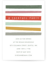 This is a red party invitation by Karidy Walker called Bright Stripes printing on signature.