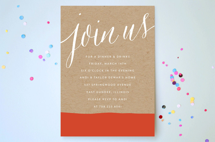 """""""Paint Dipped"""" - Modern Party Invitations in Pumpkin by Erin Deegan."""