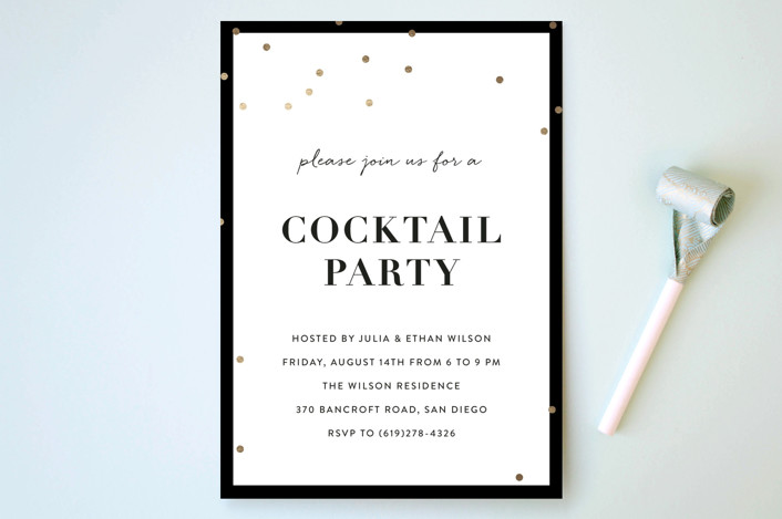 """Gold Confetti"" - Simple, Modern Party Invitations in Midnight by Chryssi Tsoupanarias."