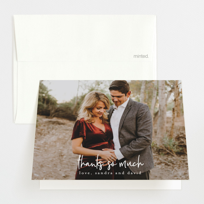 """""""So Much Thankful"""" - Pregnancy Announcements Thank You Cards in Cloud by Ella Weaver."""