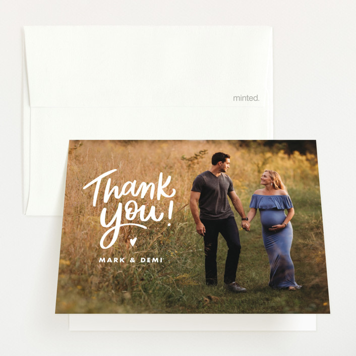 """""""Baby Makes Three"""" - Pregnancy Announcements Thank You Cards in Cotton by Ink and Letter."""