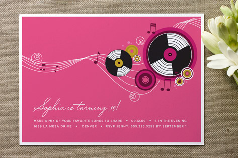 Records Adult Birthday Party Invitations