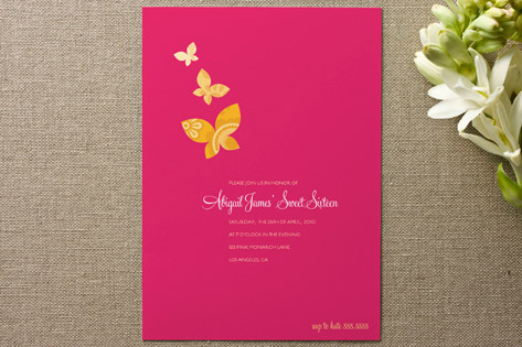 Monarch Flutter Adult Birthday Party Invitations