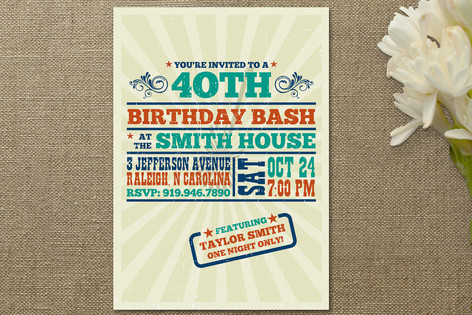 Old Blues Rock Adult Birthday Party Invitations