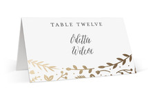This is a gold wedding place card by carly reed walker called Garden Romance with foil-pressed printing on signature in placecard.