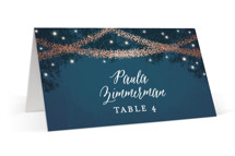 This is a blue wedding place card by Hooray Creative called Strands Of Lights with foil-pressed printing on signature in placecard.