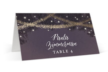 This is a purple wedding place card by Hooray Creative called Strands Of Lights with foil-pressed printing on signature in placecard.